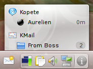 "The ""Indicator Display"" plasmoid showing indicators from Kopete and KMail"